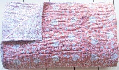 deken quilt tweepersoons reversible blockprint -framboos roze/rood