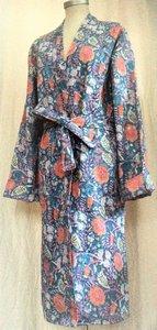 kimono quilted katoen -jeans blauw/koraal