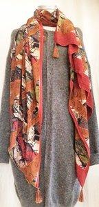 UITVERKOCHT-sjaal vintage recycled crêpe silk 2-arrow zigzag hazelnut/army green