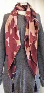 UITVERKOCHT-sjaal vintage recycled crêpe silk 3-big flower pink/old purple