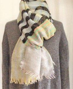 sjaal wol grof -mixed stripe