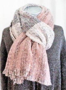 UITVERKOCHT-sjaal  grof  bouclé - grijs/roze