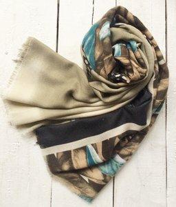 sjaal  fantasie bladmotief bruin/petrol/zwart