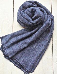 sjaal cashmere - visgraat 2 licht grijs/marine