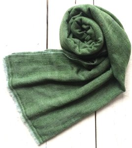 sjaal cashmere - visgraat 1 licht grijs/groen
