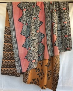 GERESERVEERD-deken / quilt vintage katoen 3 - zwart-hazelnoot/ zwart/roze bloem
