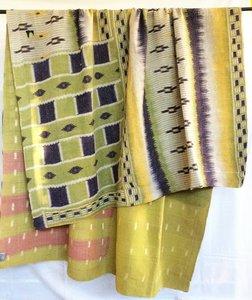 VERKOCHT-deken / quilt vintage katoen 5 - ikat paars-geel groen