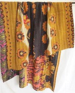 VERKOCHT-deken / quilt vintage katoen 6 - oker-terra-zwart bloem/paisley paars-koraal