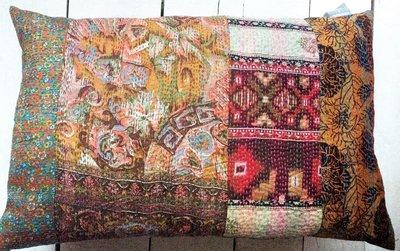 UITVERKOCHT-sierkussen vintage -full silk patchwork-2