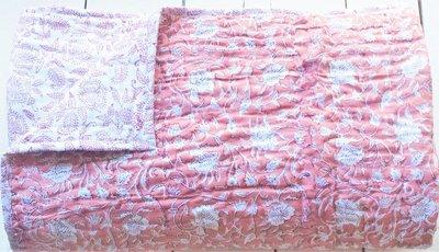 deken quilt eenpersoons reversible blockprint -framboos roze/rood