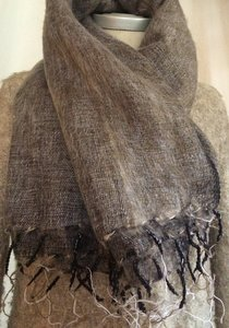 sjaal/omslagdoek mixed wool - brown/grey