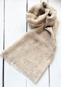 sjaal merino wol fijn-ton sur ton print warm beige/wit
