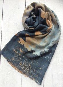 sjaal merino wol-abstract art print bruin-zwart-blauw