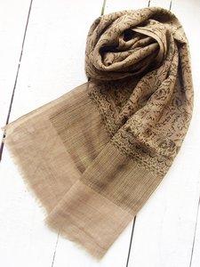 UITVERKOCHT-sjaal merino wol-blockprint donkerbruin op taupe-bruin