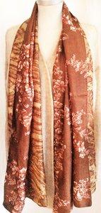 UITVERKOCHT-sjaal vintage recycled silk 2-reversible-bruin-roze-beige