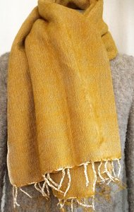 sjaal/omslagdoek mixed wool -oker