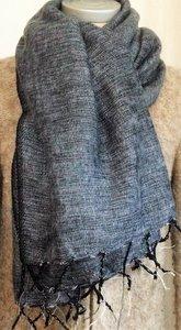 sjaal/omslagdoek mixed wool -anthraciet/licht grijs