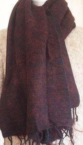 sjaal/omslagdoek mixed wool -bordeaux/zwart