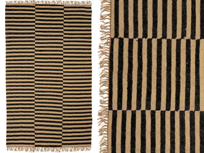 vloerkleed handgeweven wol met streepdessin
