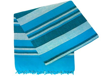 grand foulard katoen -aqua/blue stripe