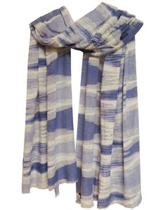sjaal cashmere ikat print offwhite/blue