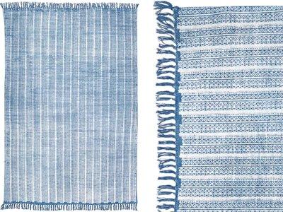 vloerkleed blockprint stripe denim