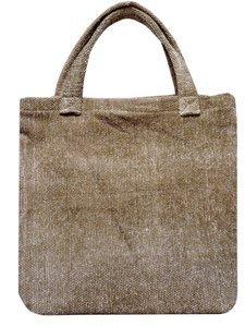 tas shopper tote bag klein katoen print bruin