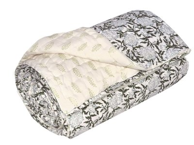 deken quilt eenpersoons blockprint -wit/off white