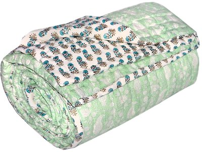 deken quilt tweepersoons blockprint -pistache/off white