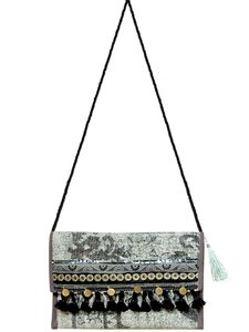 tas schoudertas clutch Boho-style soft green