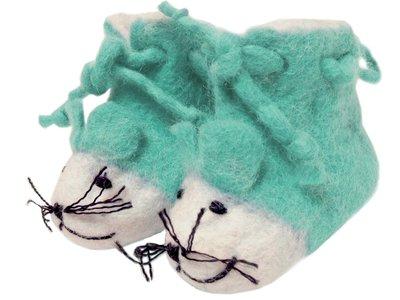 babyslofje vilt 'Muis' groen