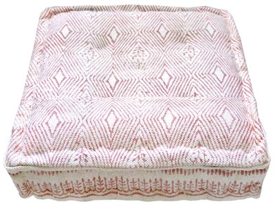 matraskussen blockprint dhurrie 60 x 60 -roze