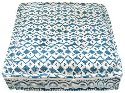 matraskussen blockprint dhurrie 60 x 60 -blauw
