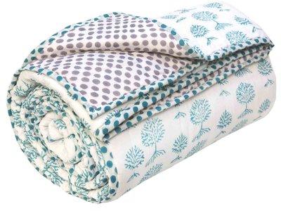 deken quilt tweepersoons reversible blockprint -groen op wit/violet op wit