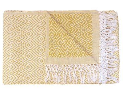 sprei/deken eenpersoons grafisch jaquard white/warm yellow