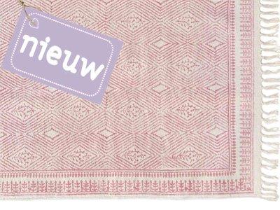vloerkleed blockprint met border roze
