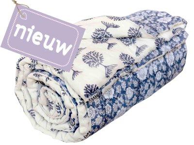 deken quilt eenpersoons reversible blockprint -blauw/blauw op wit