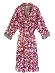 kimono quilted katoen -raspberry blockprint on white/ flower branche
