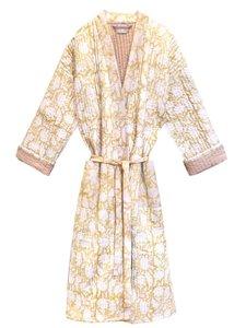 kimono quilted katoen -soft yellow blockprint on white/ flower branche
