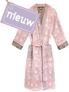 kimono quilted katoen -powder  blockprint on white/ flower branche
