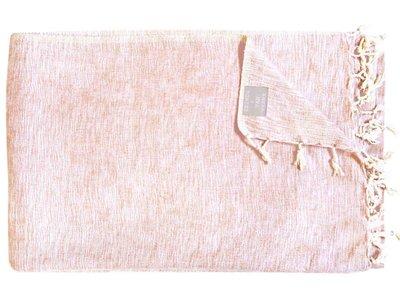 deken-plaid wolmix/katoen gemêleerd zand/wit