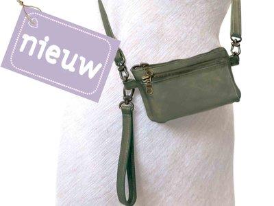 tas portemonnee leer - olive green