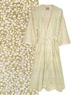 kimono katoen printed- small white leave- olive