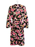 kimono katoen printed- flower mix- pink on black