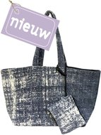 tas shopper XL met etui stonewashed denim