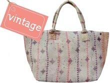 tas shopper XL vintage stof Boho-style pastel grey 3040-2
