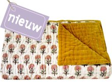 deken quilt peuter/kind -blockprint op offwhite/oker fluweel