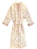 kimono quilted katoen -soft yellow blockprint on white/ flower branche