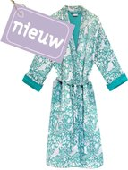 kimono quilted katoen -green blockprint on white/ flower-paisley branche
