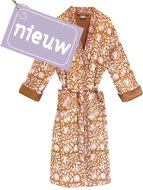kimono quilted katoen -hazelnut  blockprint on white/ flower branche